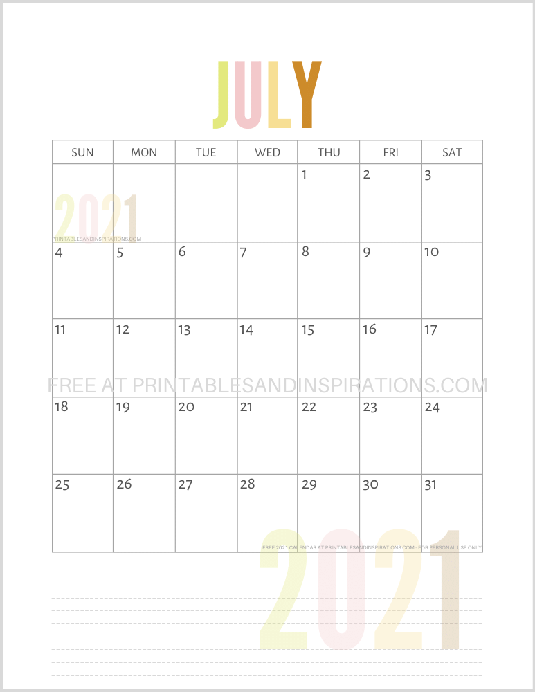July 2021 calendar free printable pdf - downloadable 2021 monthly calendar
