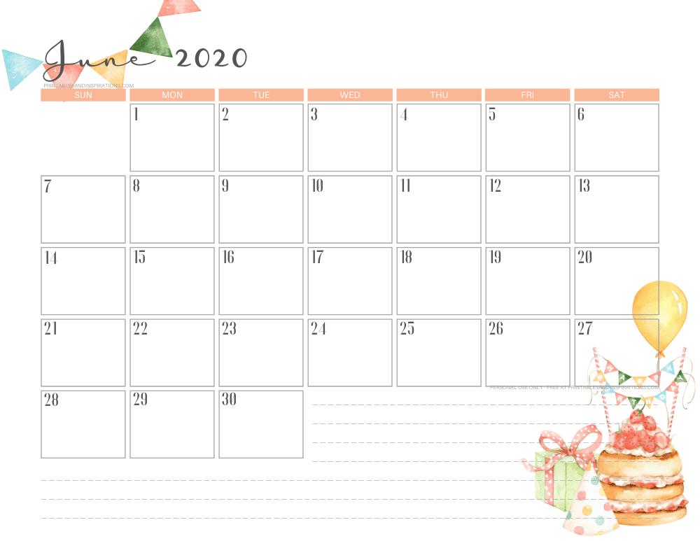 June 2020 calendar printable - free printable birthday monthly planner #freeprintable #printablesandinspirations