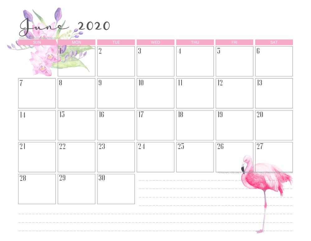 June 2020 flamingo calendar printable