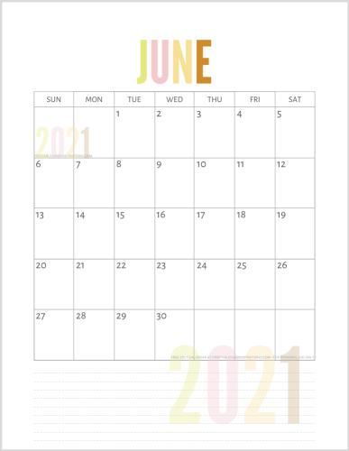 June 2021 calendar free printable pdf - downloadable 2021 monthly calendar