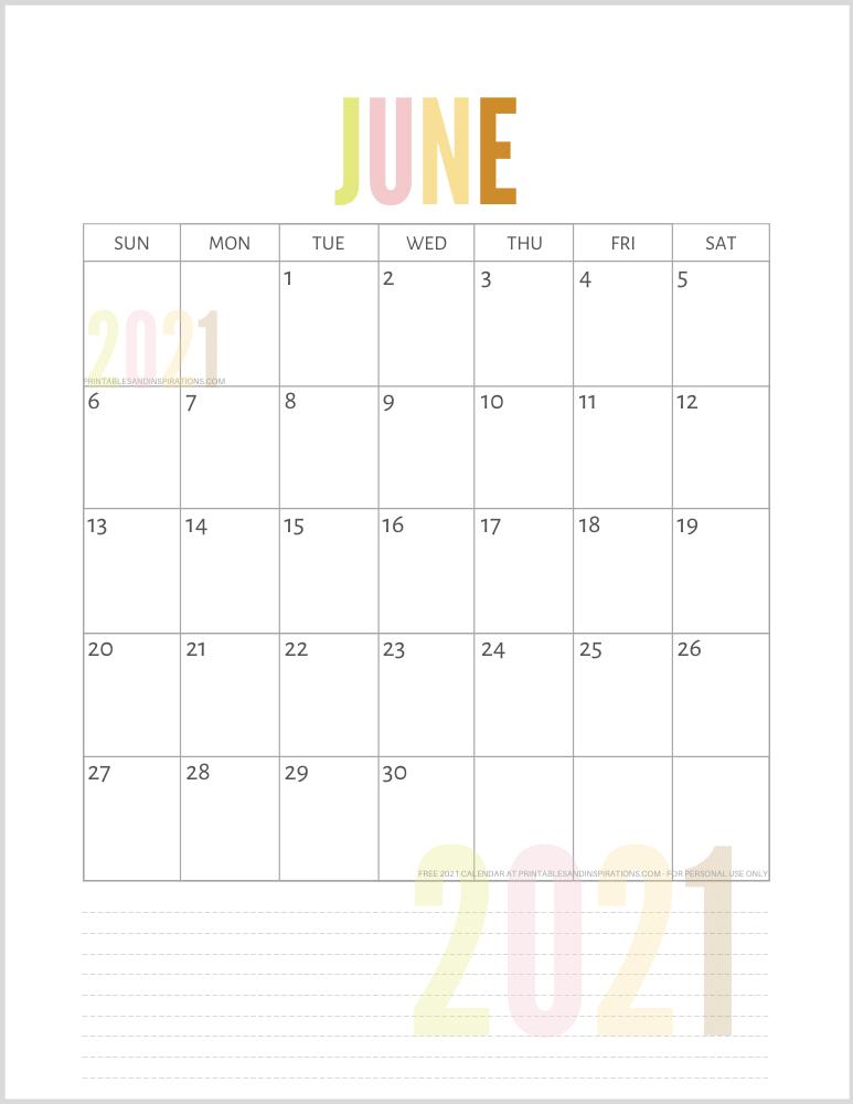 Free Cute Printable 2021 Monthly Calendar - January 2021