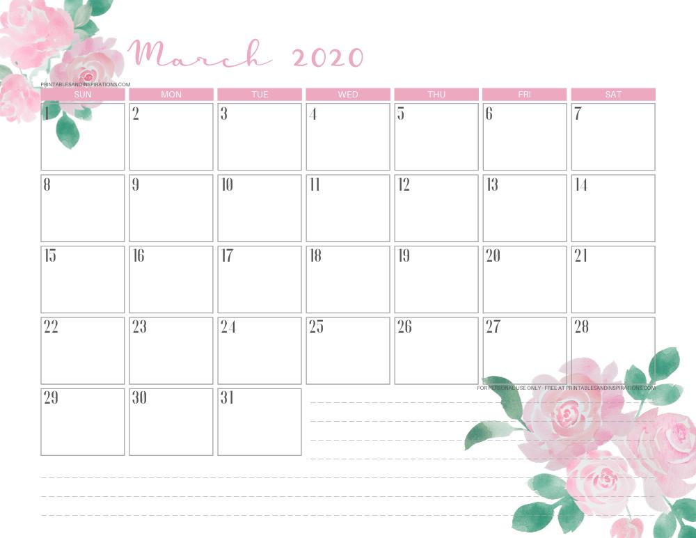 March 2020 calendar PDF - free printable monthly planner pink roses #freeprintable #printablesandinspirations