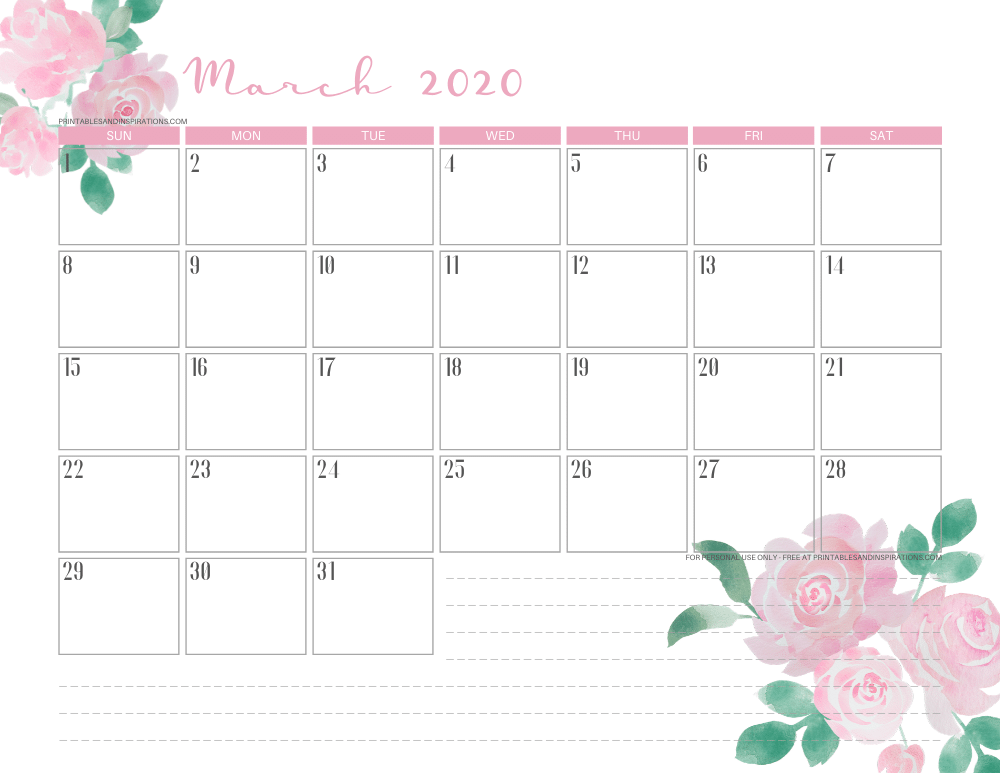 March 2020 calendar PDF - free printable monthly planner pink roses #freeprintable #printablesandinspirations