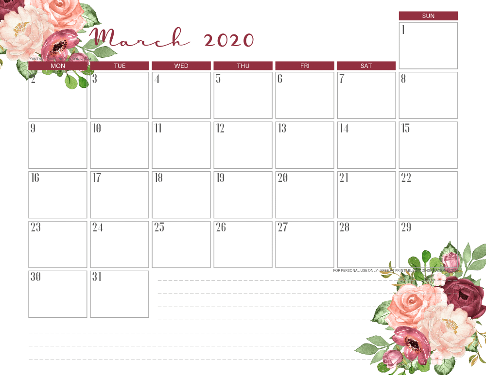March 2020 calendar PDF - free printable monthly planner red roses #freeprintable #printablesandinspirations
