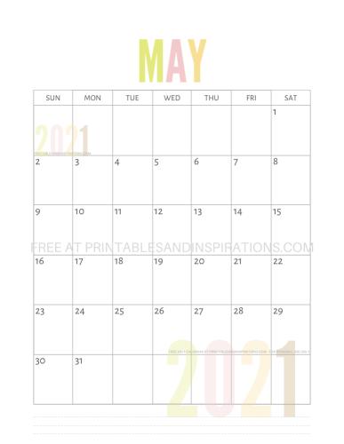 May 2021 calendar free printable pdf - downloadable 2021 monthly calendar