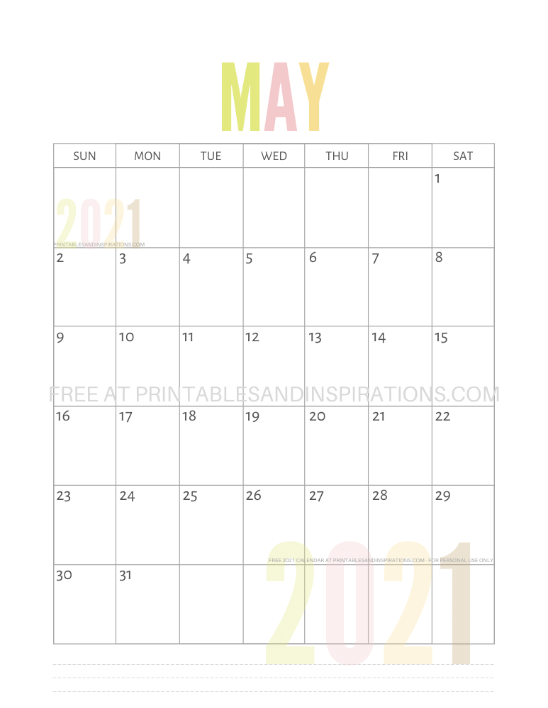 May 2021 calendar free printable pdf - downloadable 2021 monthly calendar
