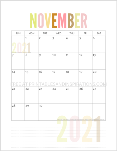 November 2021 calendar free printable pdf - downloadable 2021 monthly calendar