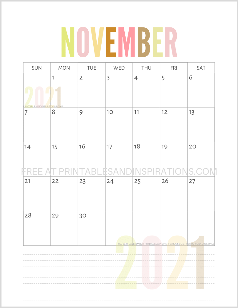November 2021 calendar free printable pdf - downloadable 2021 monthly calendar