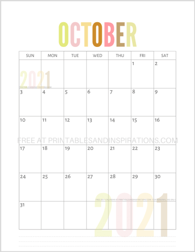 October 2021 calendar free printable pdf - downloadable 2021 monthly calendar