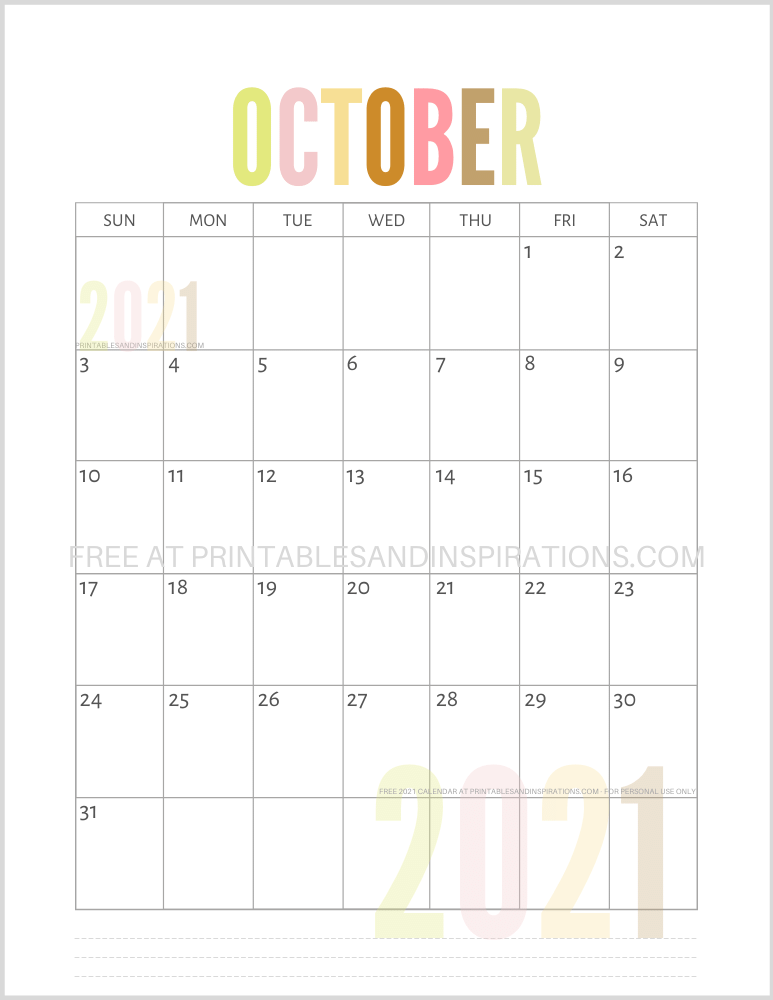October 2021 calendar free printable pdf - downloadable 2021 monthly calendar