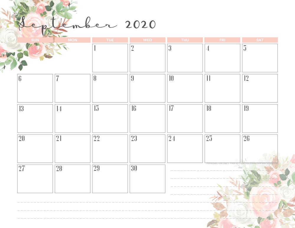 September 2020 calendar printable planner