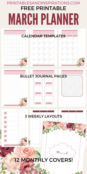 Free Monthly Printable Planner Template March 2020 - red roses bullet journal printable template with dot grid, free printable planner, bullet journal printable, printable planner stickers #freeprintable #printablesandinspirations #bulletjournal #planneraddict #plannerstickers #bujoideas #vintage