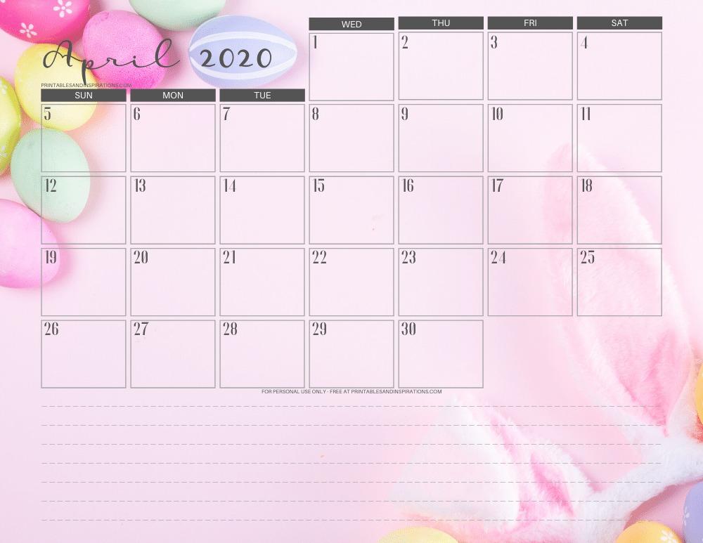 April 2020 Easter calendar printable