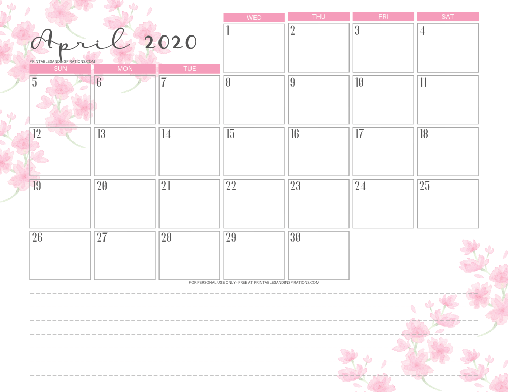 April 2020 calendar PDF - free printable monthly planner with cherry blossoms. #freeprintable #printablesandinspirations