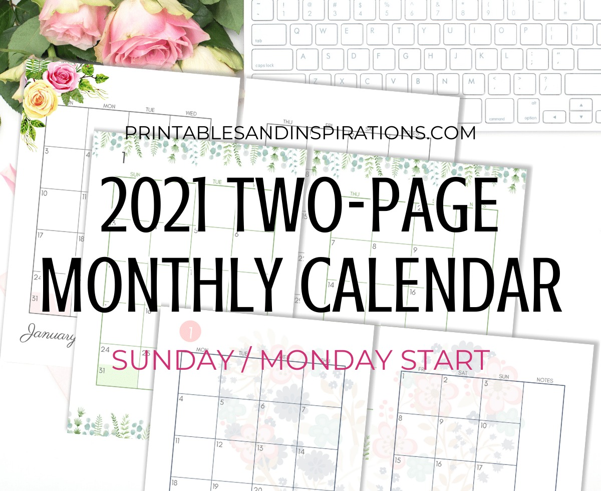 Full Page Monthly Calendar 2021 Pictures