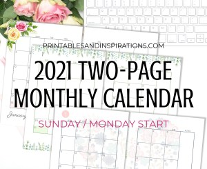 Free Printable 2021 Two Page Calendar Template - Monthly calendar in two pages #freeprintable #printablesandinspirations #2021calendar