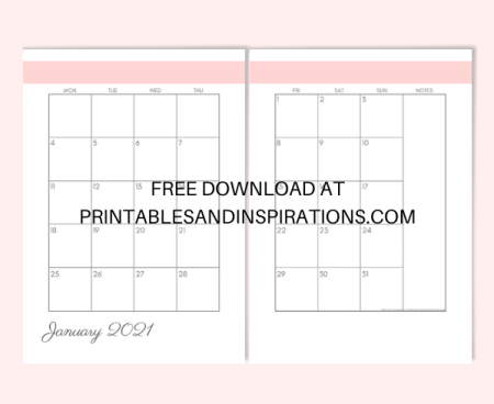 Monthly Planner Printable - Free printable 2021 monthly planner in two pages #freeprintable #printableandinspirations