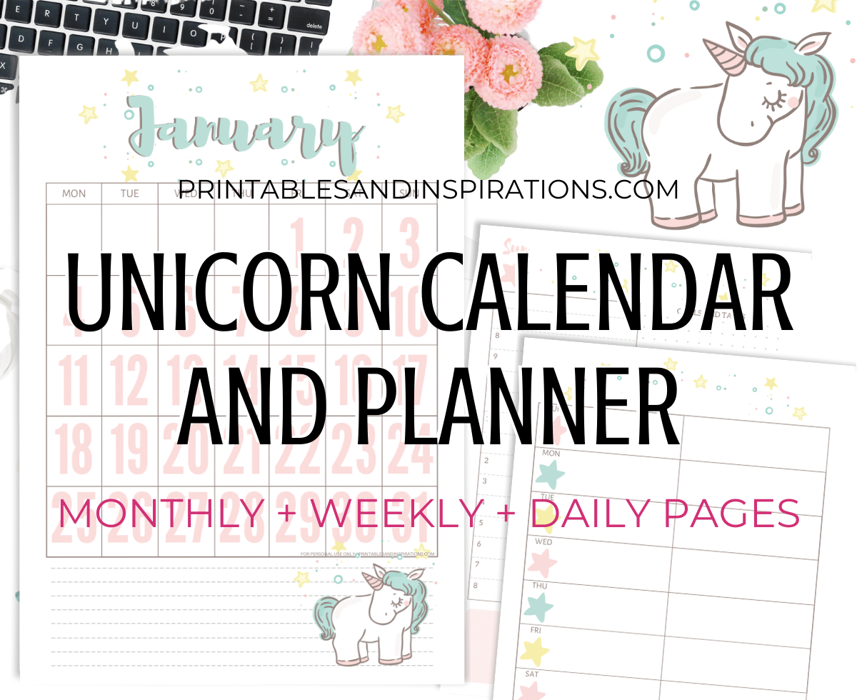 Unicorn Calendar 2022.Free Printable 2021 Unicorn Calendar And Planner Pages Printables And Inspirations