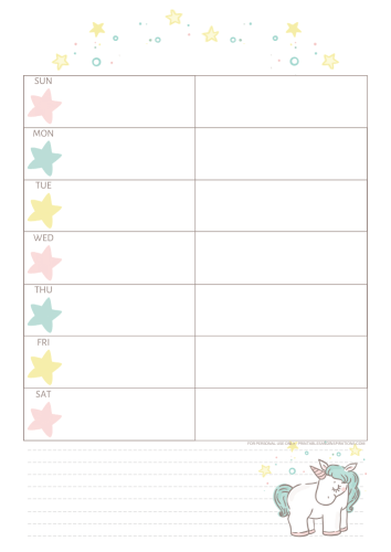 Free Printable Unicorn Weekly Planner - monthly 2021 calendar with unicorn, unicorn planner pages #freeprintable #printablesandinspirations #unicorn