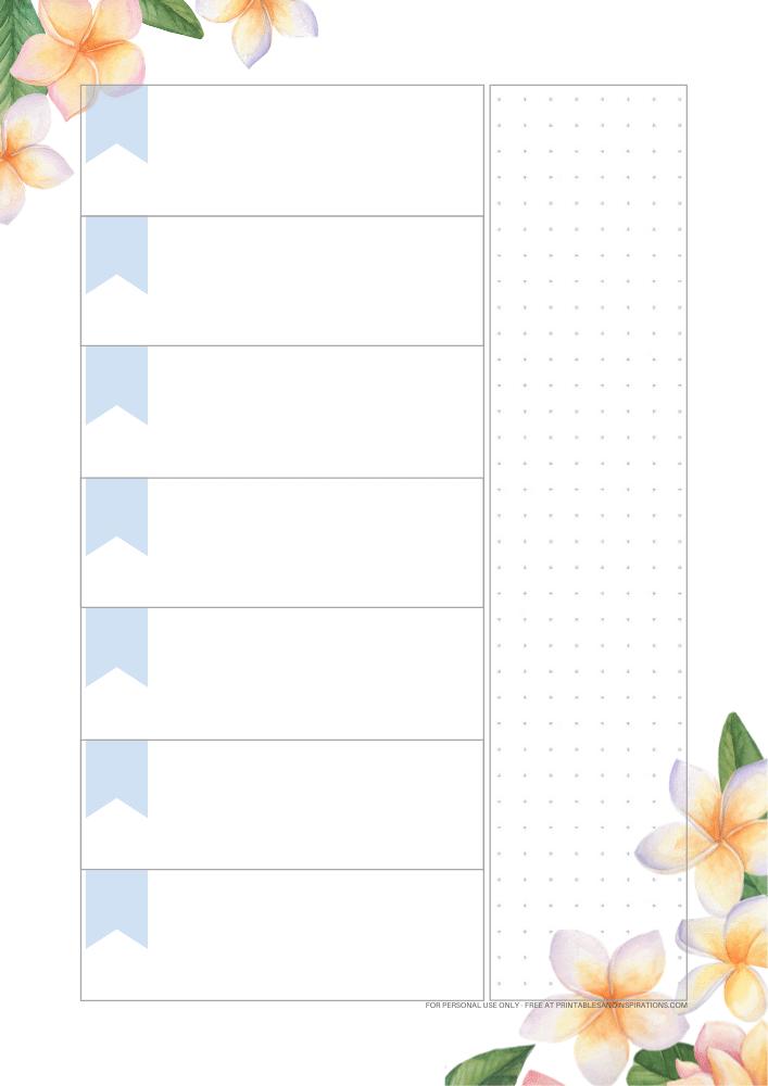 Cute Weekly Planner Printable - Free printable weekly planner with flowers #freeprintable #weeklyplanner #bulletjournal #digitalplanner #printablesandinspirations