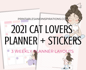 2021 Monthly Calendar Printable Planner And Stickers - Cat Lovers Calendar 2021 Planner #catlover #printablesandinspirations #freeprintable