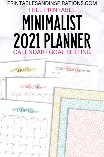Free printable 2021 planner minimalist simple calendar - 2021 goal setting planner with monthly calendar and weekly planner #printablesandinspirations #goalsetting