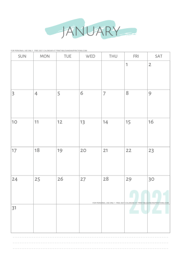 2021 simple calendar - free printable minimalist calendar and weekly planner - GO TO PREVIOUS POST TO DOWNLOAD THE PDF FILE #printablesandinspirations