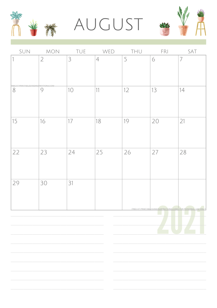 August 2021 planner - green free printable calendar #printablesandinspirations SEE PREVIOUS POST TO DOWNLOAD THE FREE PDF FILE