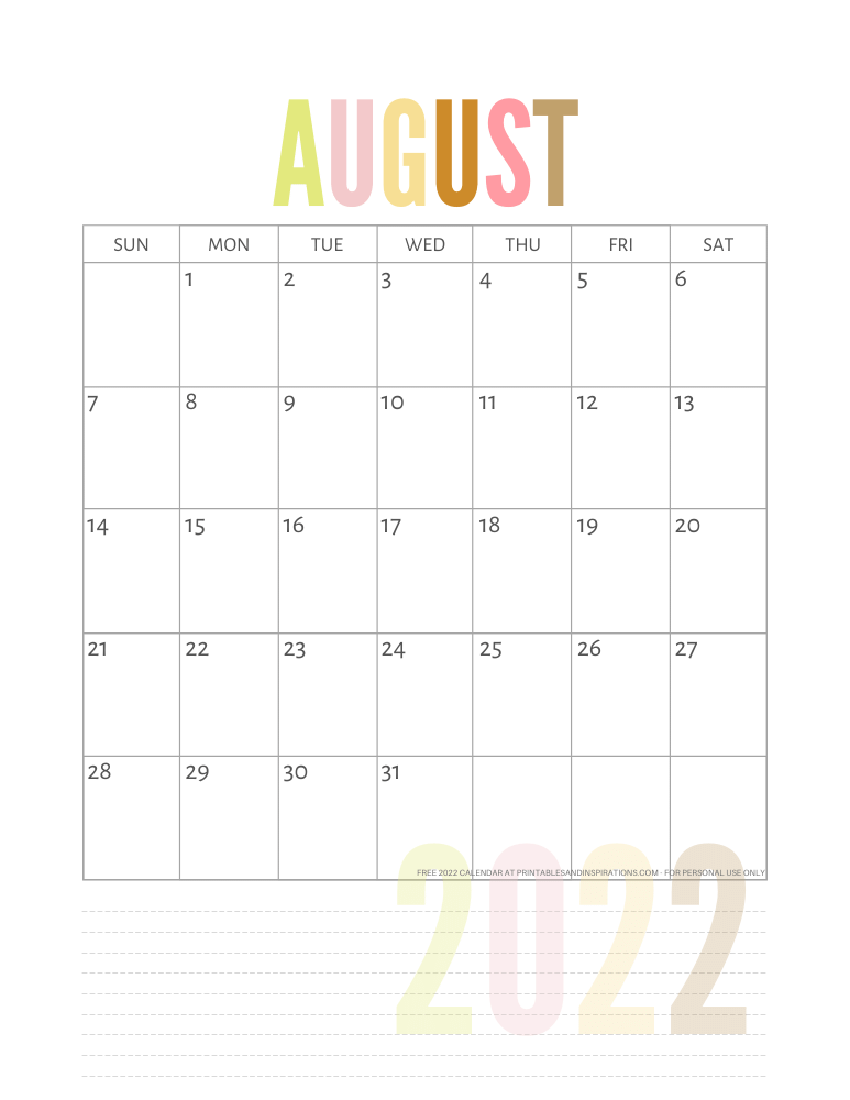August 2022 calendar free printable pdf - downloadable 2022 monthly calendar - SEE PREVIOUS POST TO DOWNLOAD THE PDF FILE #printablesandinspirations