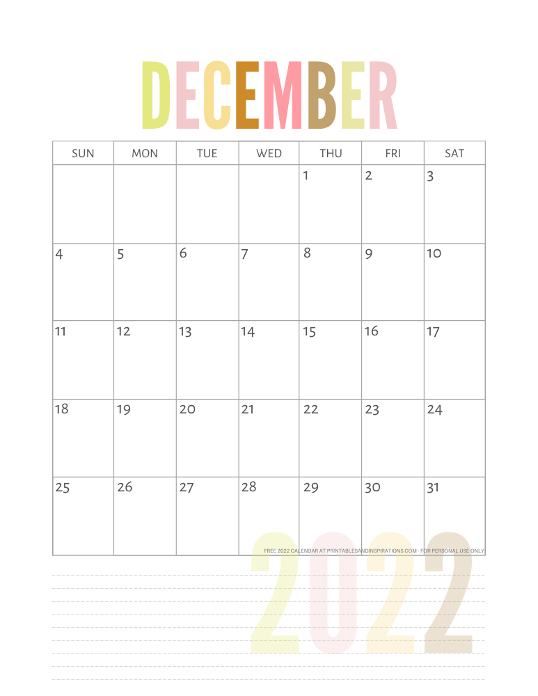 December 2022 calendar free printable pdf - downloadable 2022 monthly calendar - SEE PREVIOUS POST TO DOWNLOAD THE PDF FILE #printablesandinspirations