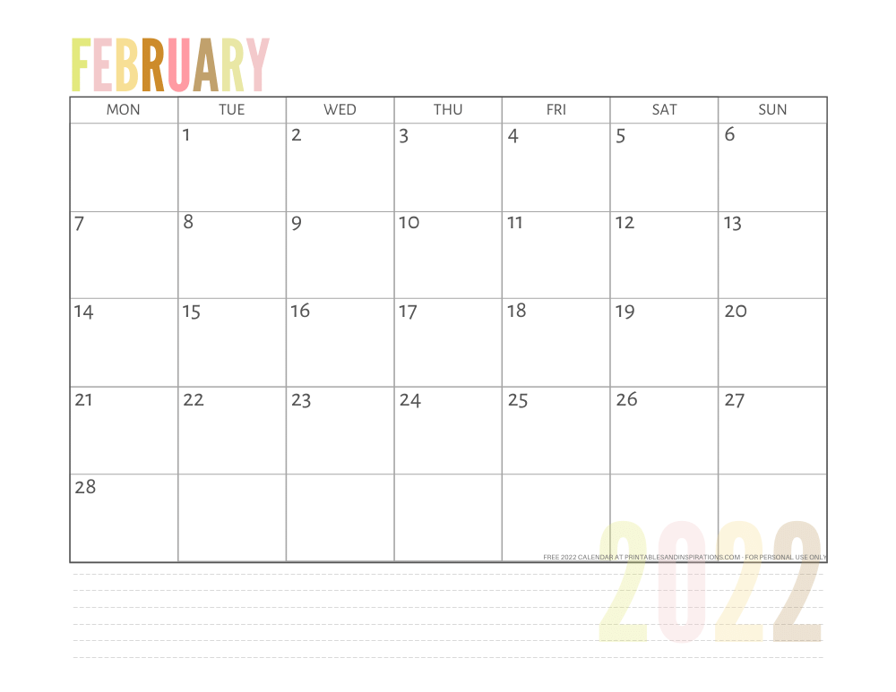 February 2022 calendar free printable pdf - downloadable 2022 monthly calendar - SEE PREVIOUS POST TO DOWNLOAD THE PDF FILE #printablesandinspirations