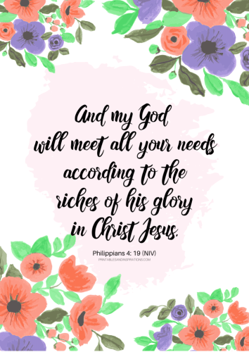 12 Free Printable Bible Verses On Healing - God will meet all your needs - Philippians 4:19 #bibleverse #printablesandinspirations SEE PREVIOUS POST TO DOWNLOAD THE PDF FILE