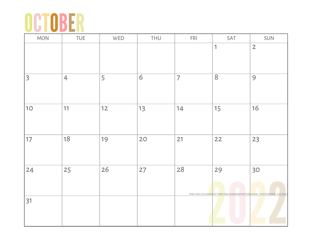October 2022 calendar free printable pdf - downloadable 2022 monthly calendar - SEE PREVIOUS POST TO DOWNLOAD THE PDF FILE #printablesandinspirations