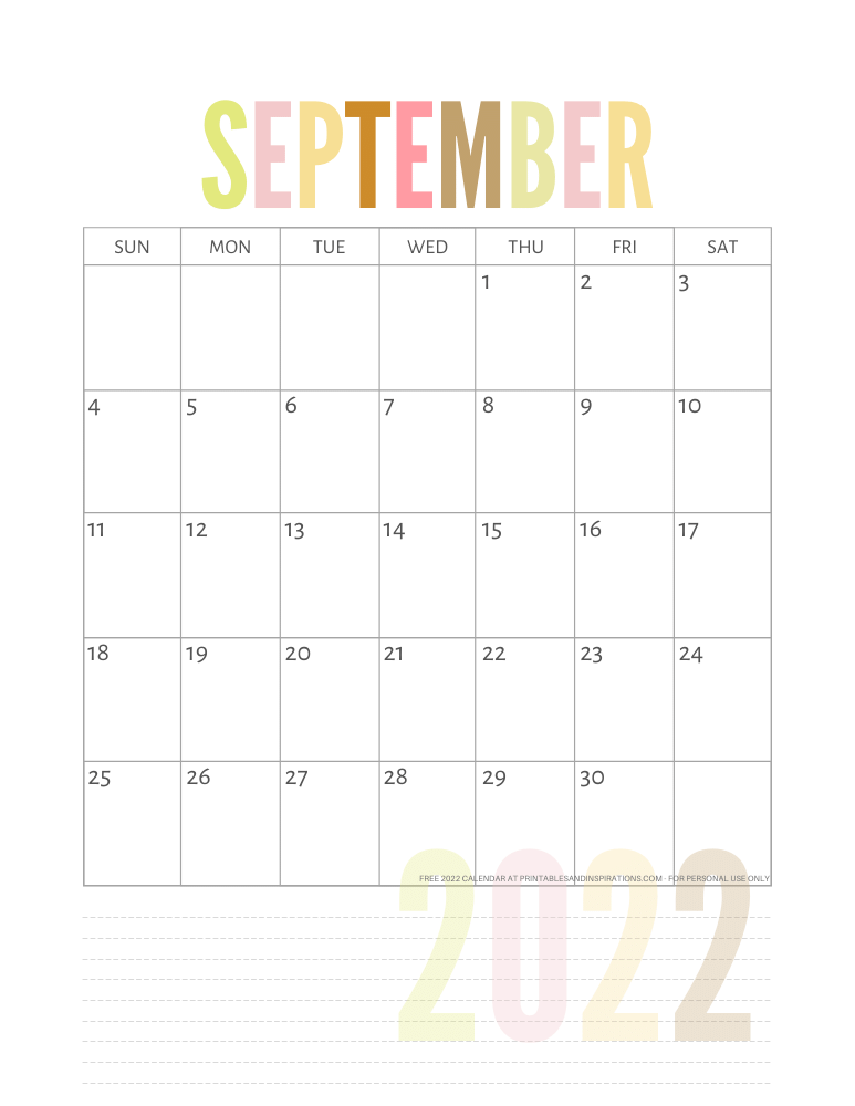 September 2022 calendar free printable pdf - downloadable 2022 monthly calendar - SEE PREVIOUS POST TO DOWNLOAD THE PDF FILE #printablesandinspirations