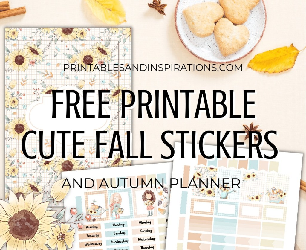 Cute Fall Stickers + Free Printable Planner - autumn themed planner stickers for bullet journal + links to fall clipart #freeprintable #printablesandinspirations