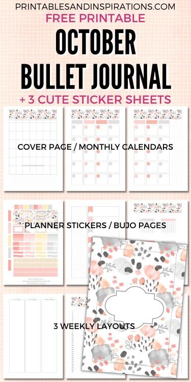 Free Printable October Bullet Journal + Planner Stickers #printablesandinspirations #bulletjournal #planneraddict #freeprintable