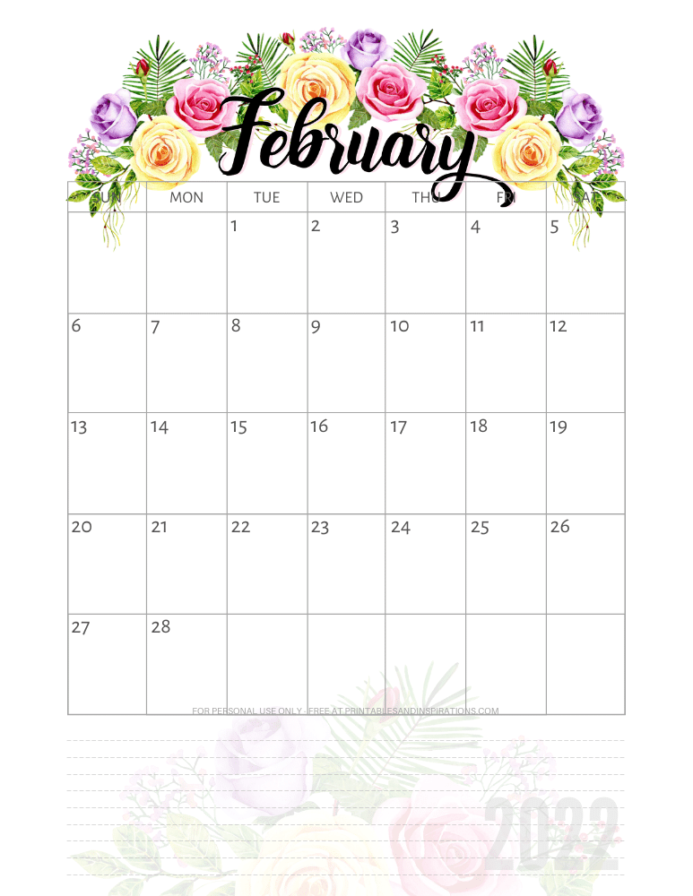 February 2022 pretty calendar - free printable monthly planner with roses #printablesandinspirations - SEE PREVIOUS POST TO DOWNLOAD THE COMPLETE 2022 CALENDAR
