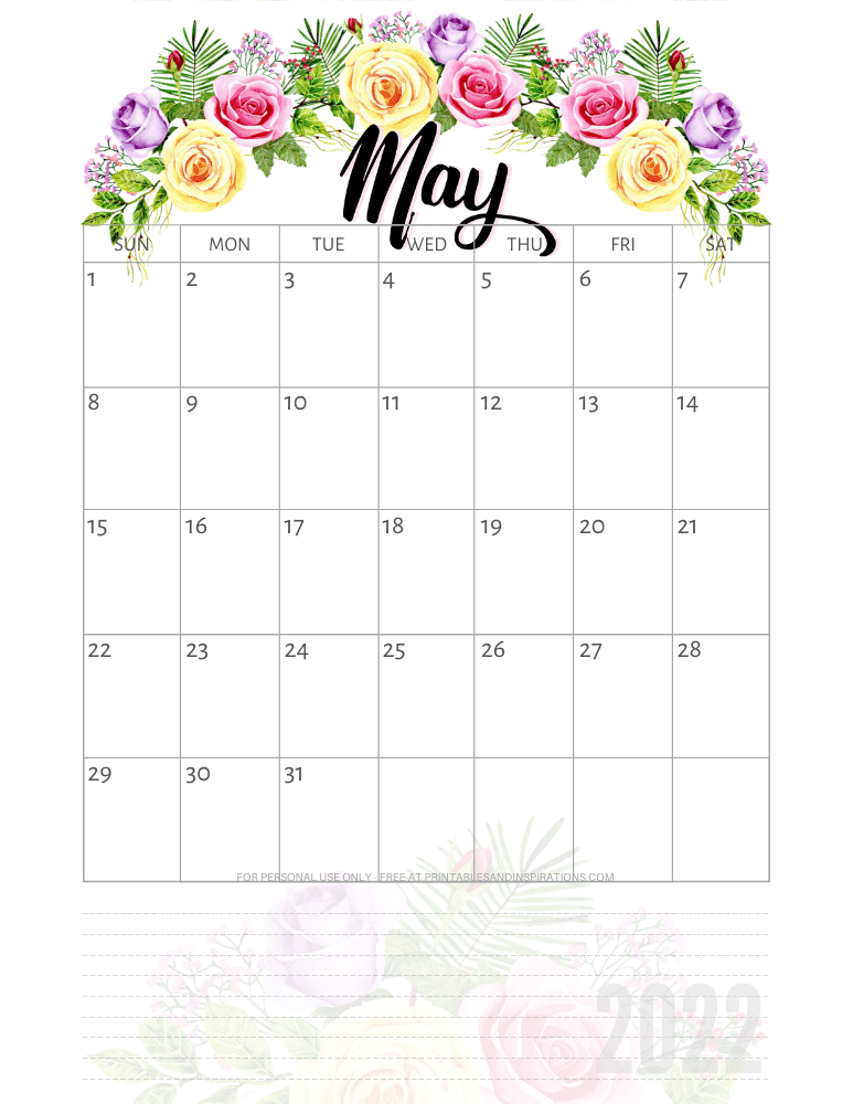 May 2022 pretty calendar - free printable monthly planner with roses #printablesandinspirations - SEE PREVIOUS POST TO DOWNLOAD THE COMPLETE 2022 CALENDAR