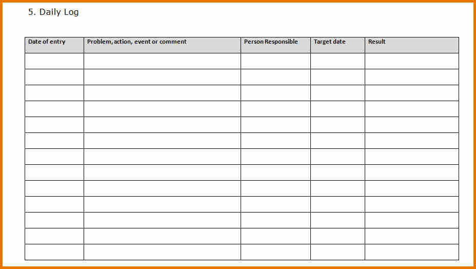 Daily Log Template Excel Printable Schedule Template