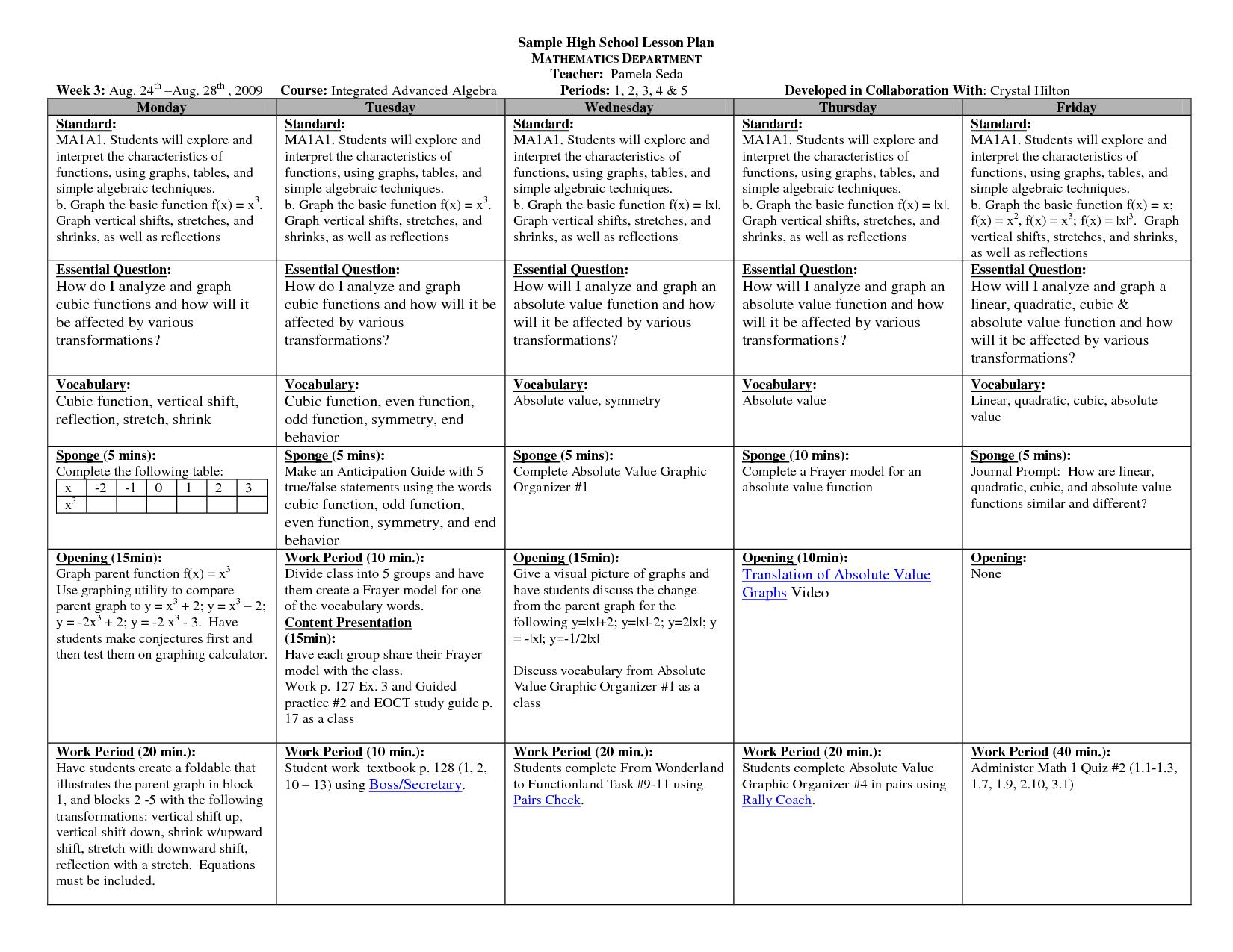 Lesson Plan Template High School Math