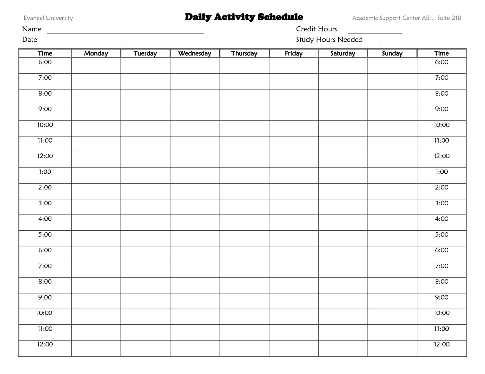 Schedule Activities Template
