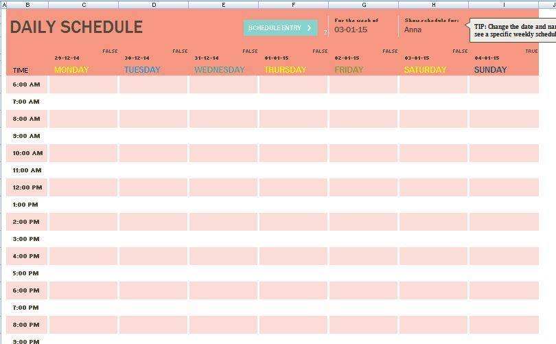 scheduler template excel