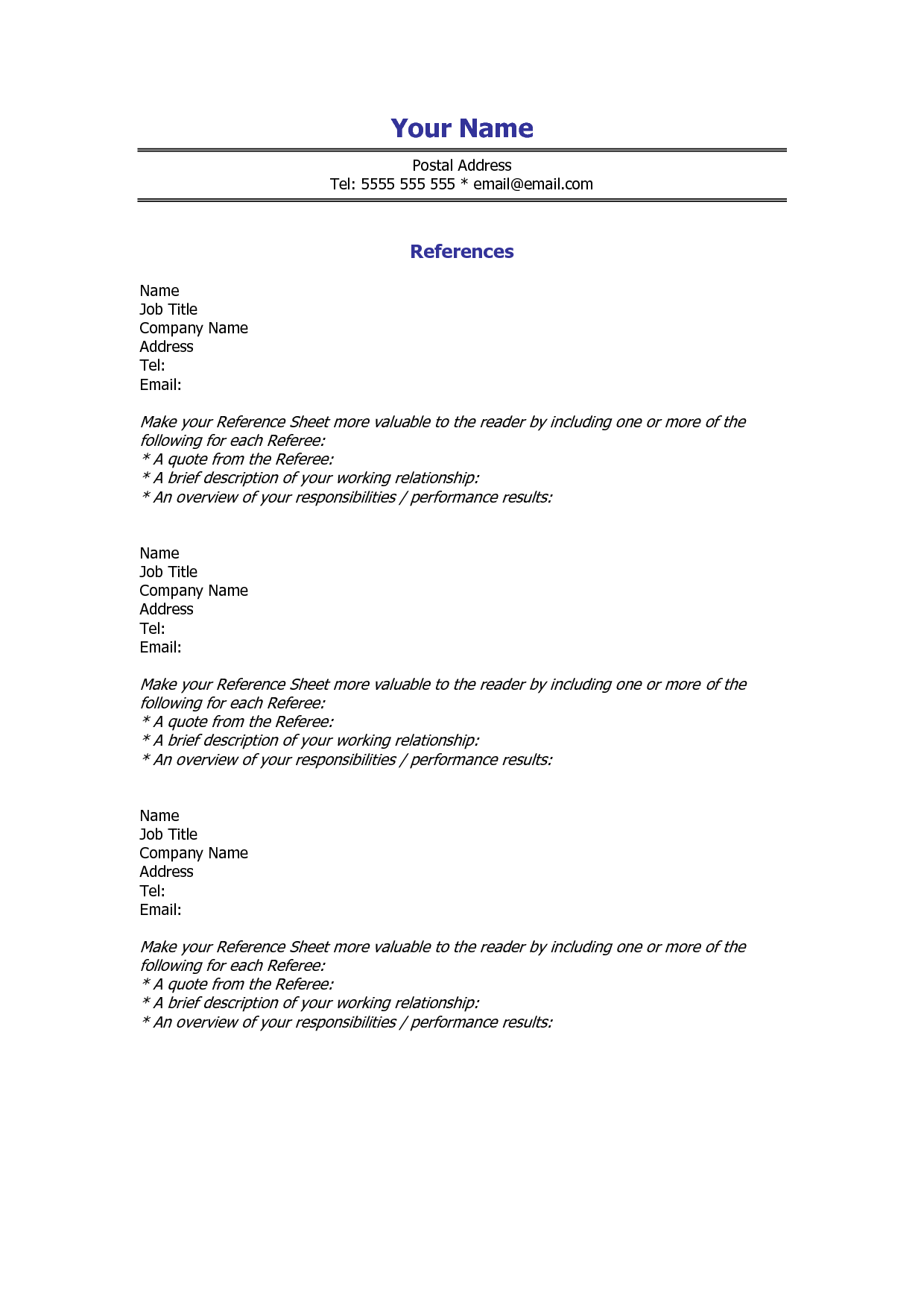 Template For Employee Reference