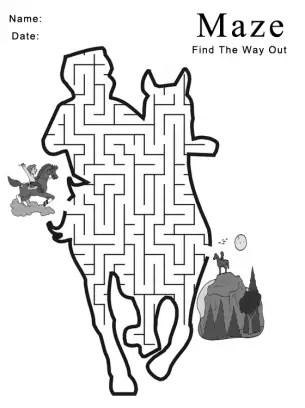Printable Cowboy Maze Games