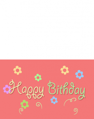 Printable Peach Flowers Happy Birthday Cards
