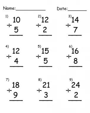 Simple Division Worksheets Printable