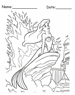 Ariel Sitting On A Rock Coloring Pages Printable Sketch