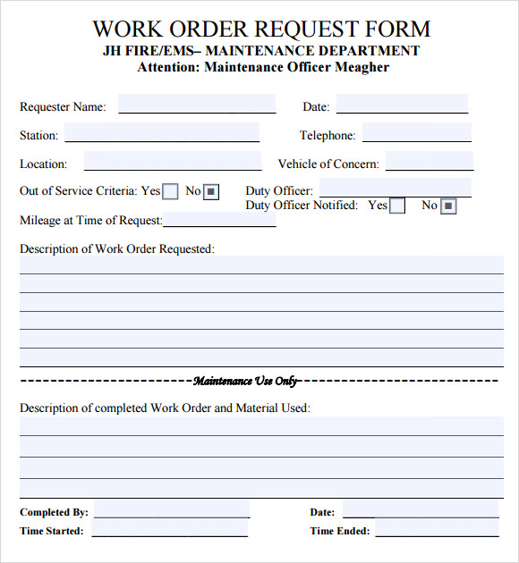 work order forms templates