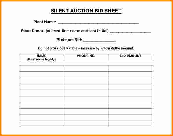 silent auction bid sheet free