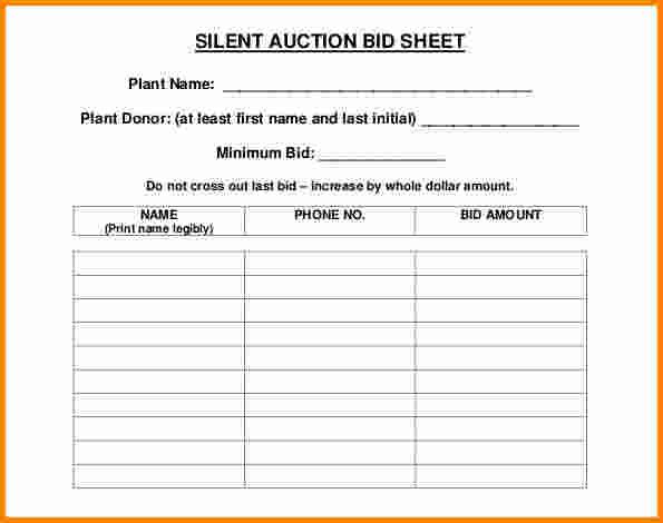 Silent Auction Bid Sheet